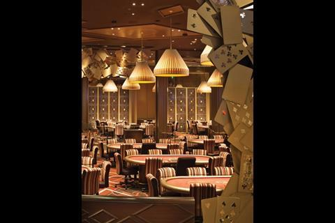 The poker room in the 14,000m2 casino which occupies the entirety of the ground floor of the Aria